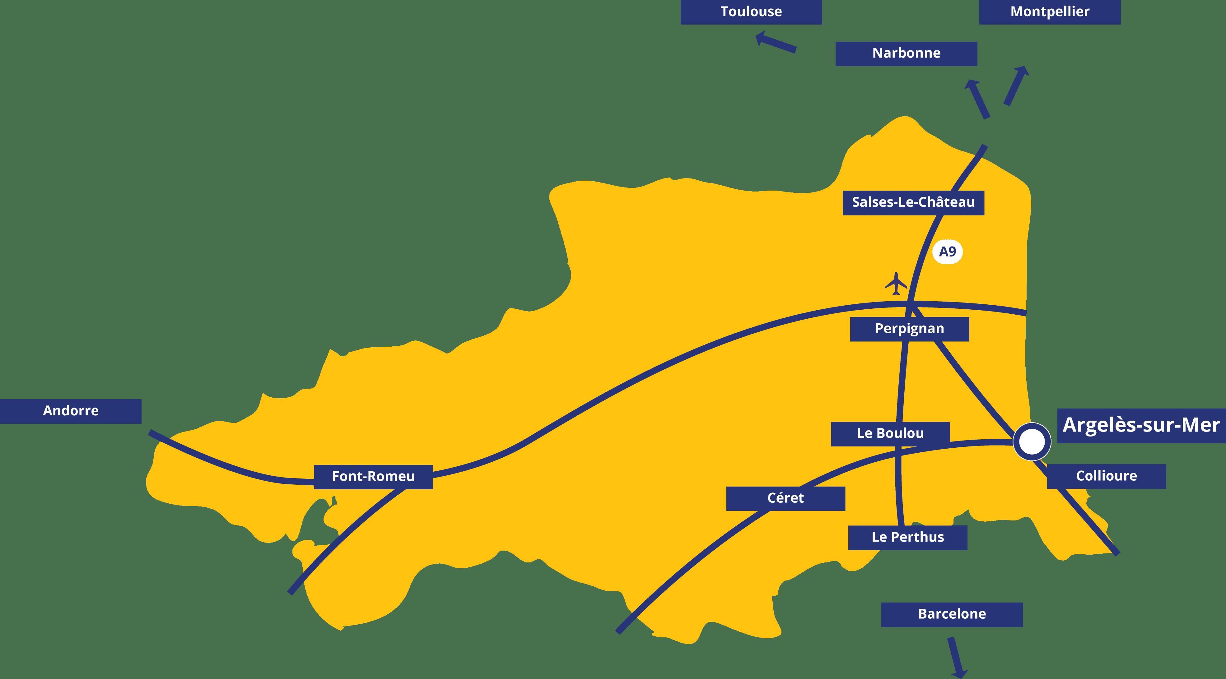 Carte des Pyrénées-Orientales, le Sud de la France